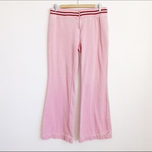 pink velour 2000s mid rise front zip track pants